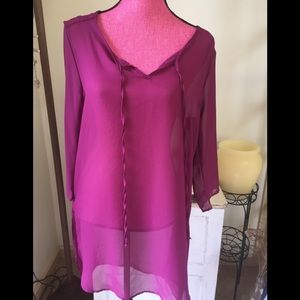 BNWT Sheer tunic dress, top or cover-up medium-lg
